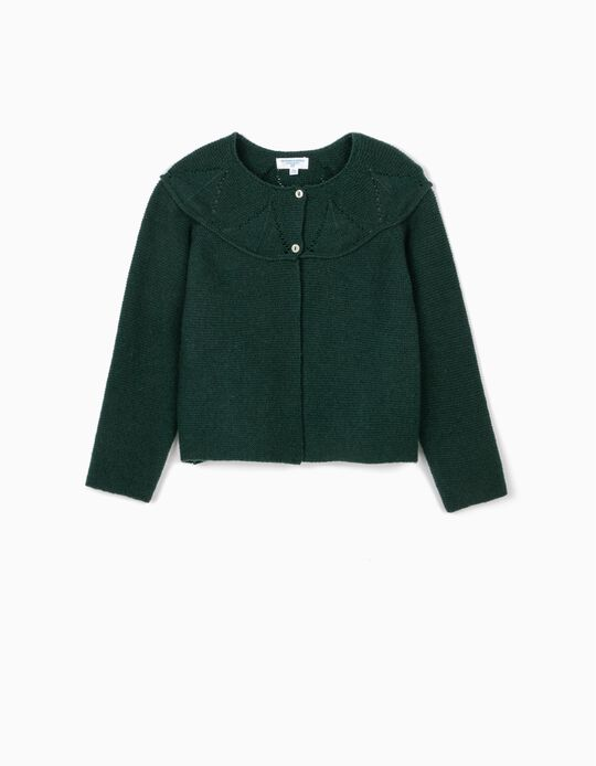 Woollen Cardigan for Girls, 'B&S', Dark Green