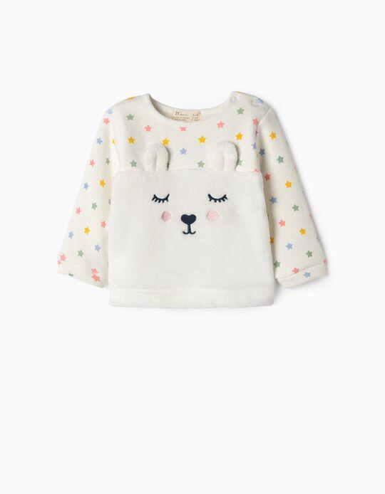 Combined Sweatshirt for Newborn Girls 'Bunny & Stars', White