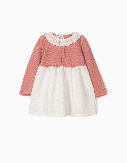 Vestido de Dos Materias para Bebé Niña, Rosa y Blanco