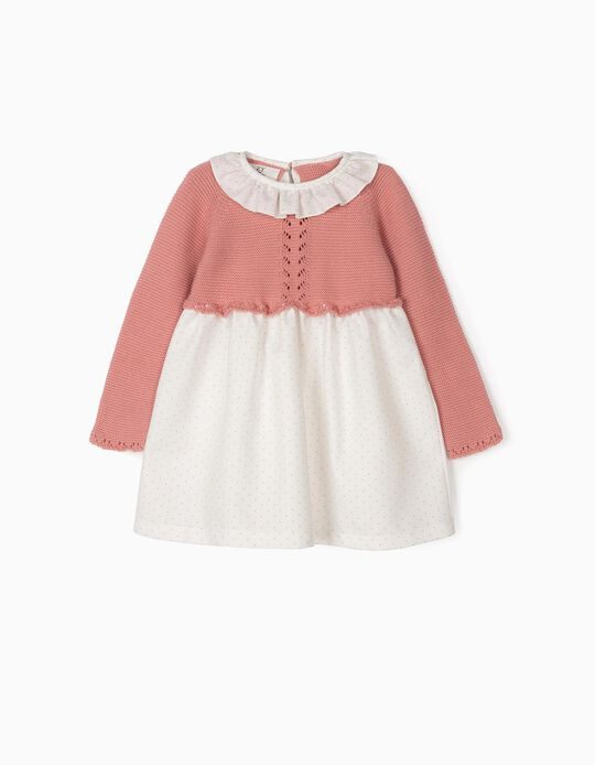 Vestido Combinado para Bebé Menina, Rosa e Branco