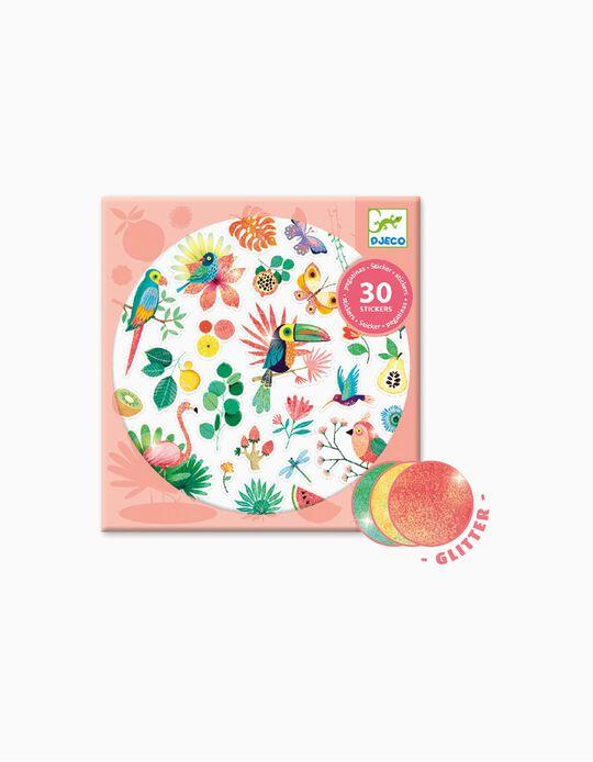 Adhesivos Paradise Glitter Djeco 30 piezas