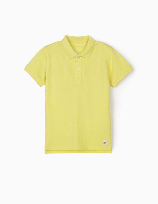 Polo manches courtes garçon, jaune fluo