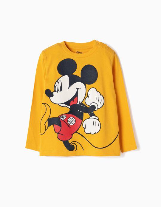 Camiseta de Manga Larga para Bebé Niño 'Mickey', Amarillo