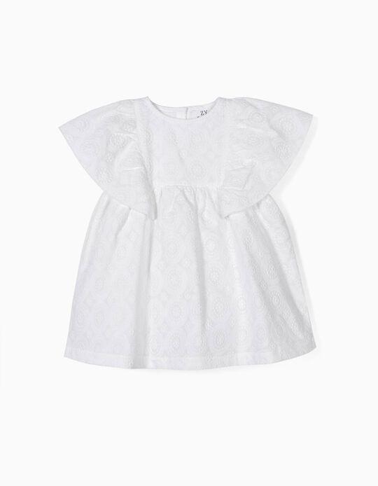 Vestido y Cubrepañal para Bebé Niña con Bordados, Blanco