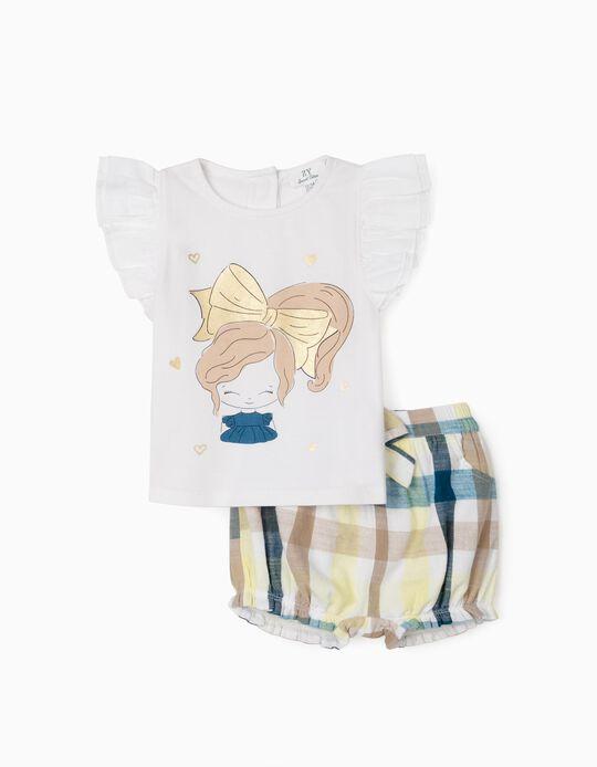 T-shirt et short bébé fille 'Cute Girl', blanc/carreaux