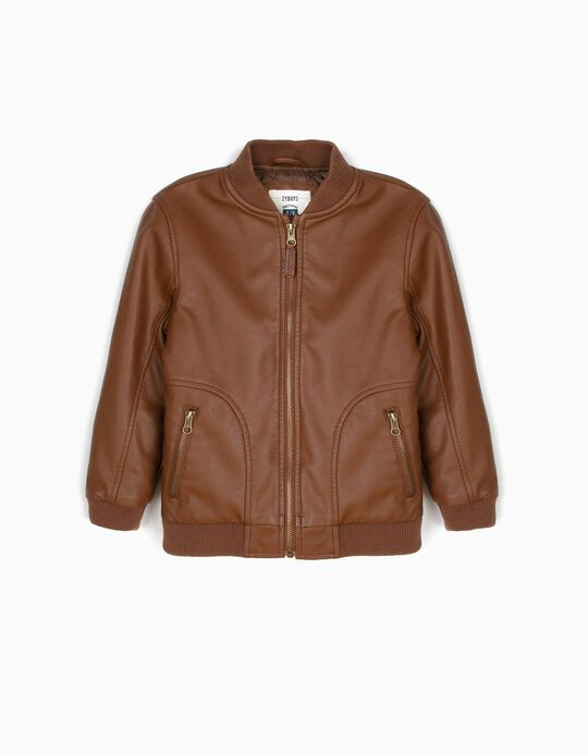Synthetic Leather Jacket for Boys, Brown