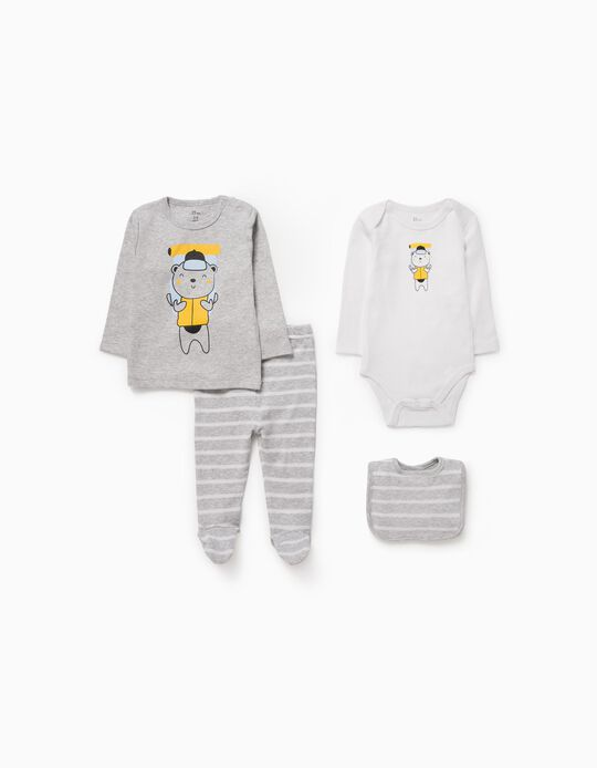 4-Piece Set for Babies 'Adventure Bear', Grey/White