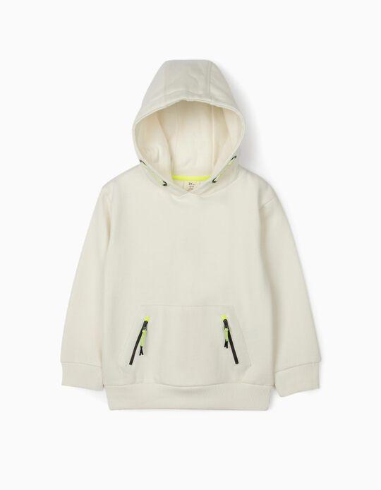 Sweatshirt com Capuz para Menino, Branco