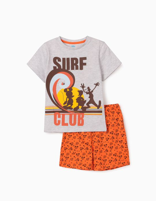 Pyjamas for Boys, 'Mickey Surf Club', Grey/Orange