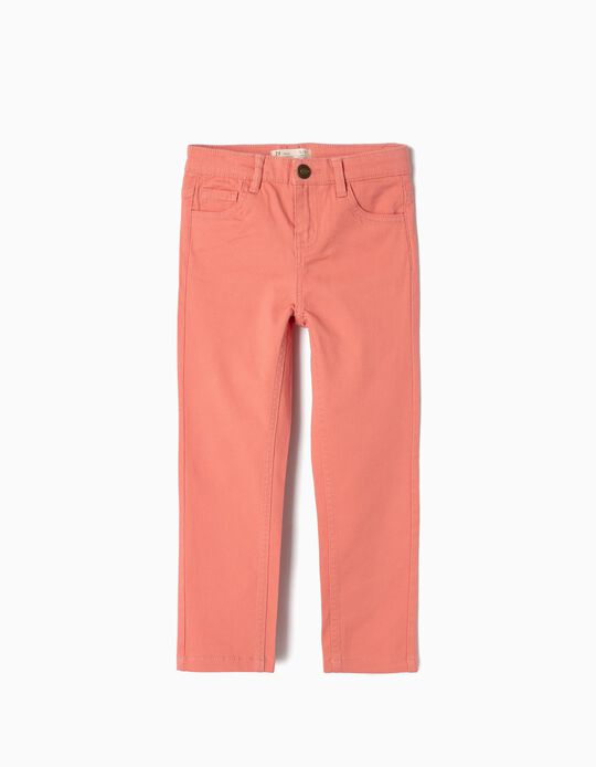 Twill Trousers for Girls, Light Pink
