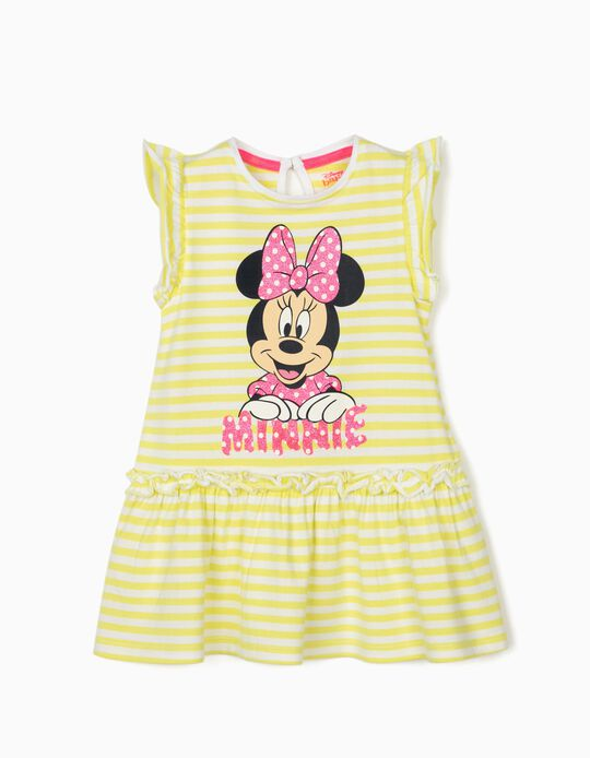 Striped Dress for Baby Girls, 'Minnie Mouse', Lime Yellow/White