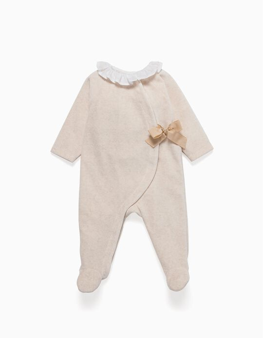 Velvet Sleepsuit with Bow, Beige