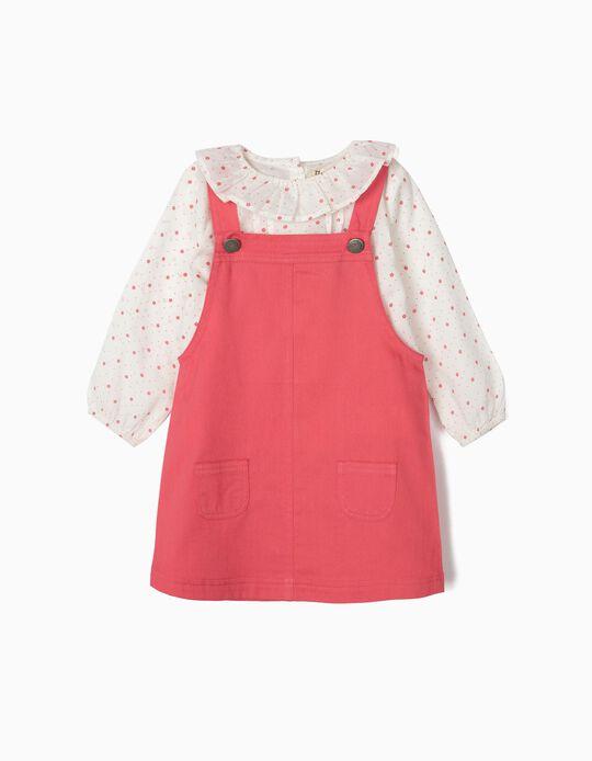 Falda con Peto y Blusa para Bebé Niña, Rosa/Blanca