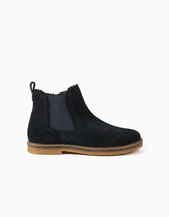 Suede Boots for Girls, Dark Blue