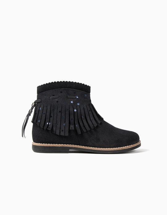 Leather Boots with Fringes for Girls, Dark Blue