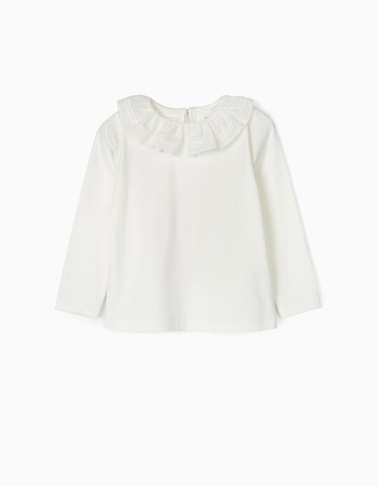 Long-sleeve Top with Ruffle for Girl, White