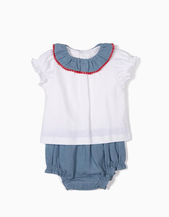 Combined Romper for Newborn Girls, Blue/White