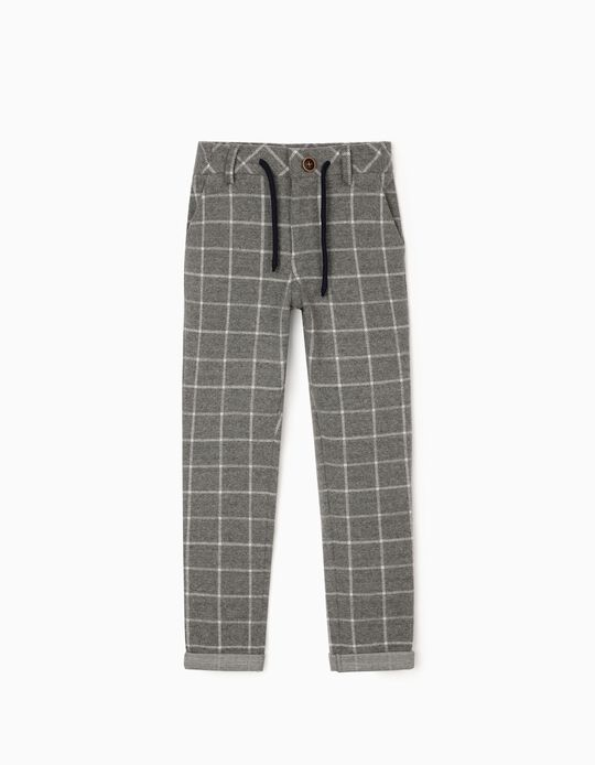 Interlock Knit Checkered Trousers for Boys, Grey