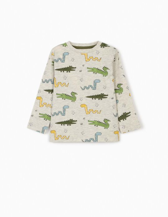 Camiseta de Manga Larga para Bebé Niño 'Wild Animals', Gris Jaspeado