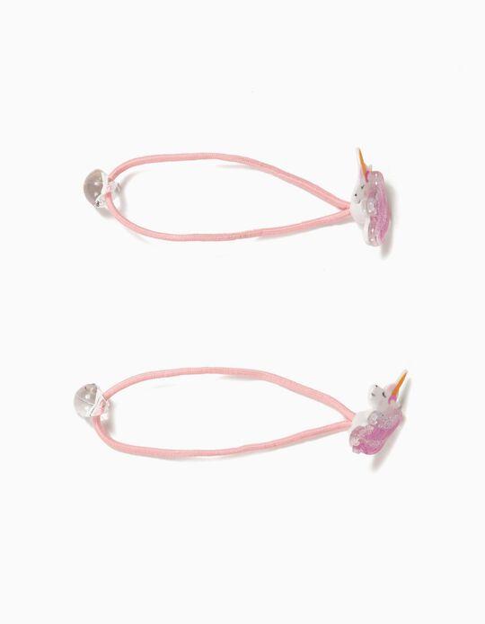 2 Gomas del Pelo para Niña 'Unicorn', Rosa