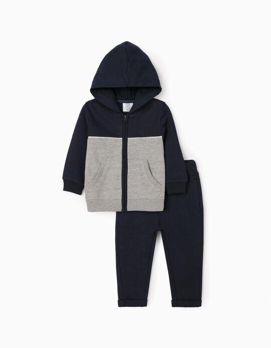 Fato de Treino para Bebé Menino 'Kingdom', Azul Escuro/Cinza