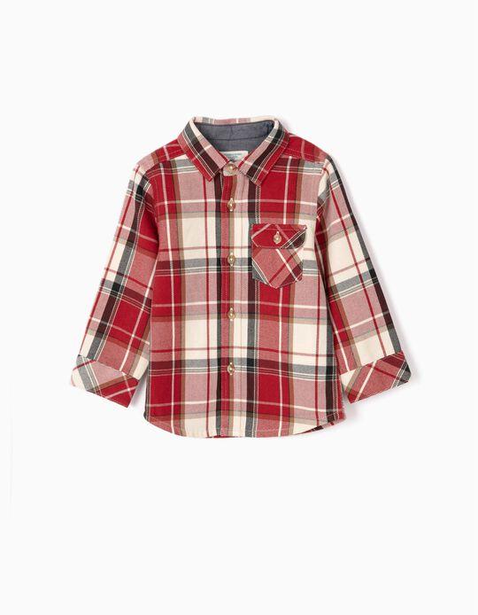 Camisa Xadrez para Bebé Menino 'B&S', Vermelho/Branco