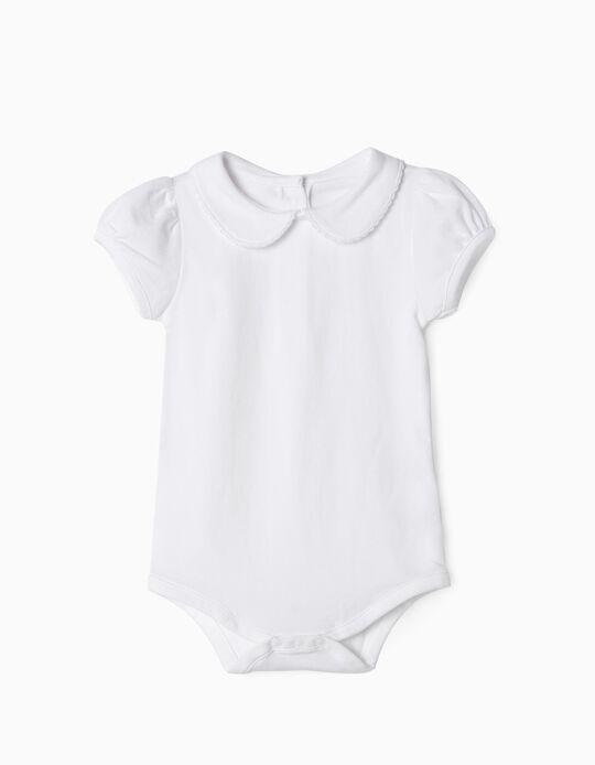 Body manches courtes bébé fille, blanc
