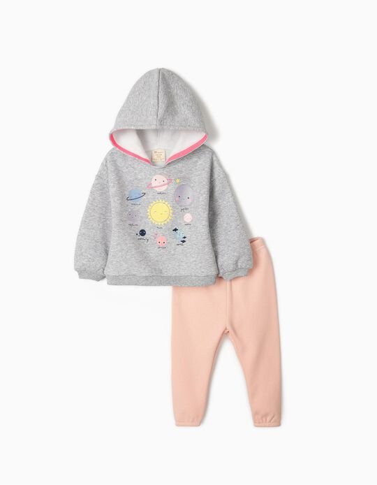 Track Suit for Baby Girls 'Planets', Grey/Pink