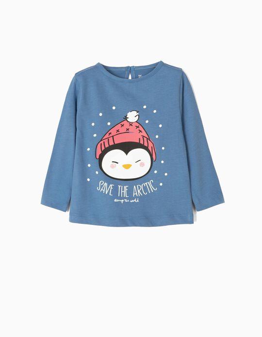 T-shirt Manga Comprida para Bebé Menina 'Save The Artic', Azul