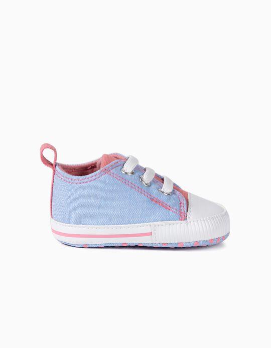 Zapatillas para Recién Nacida, Azul/Rosa