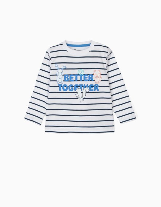 T-shirt Manga Comprida para Bebé Menino 'Better Together', Branco