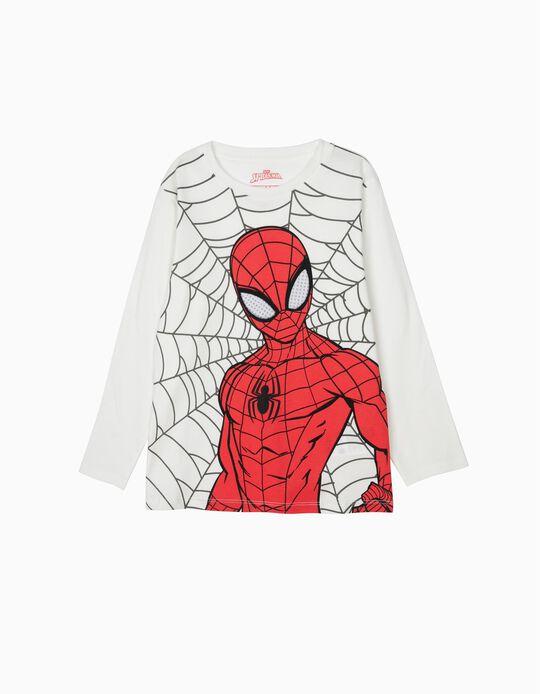 T-shirt Manga Comprida para Menino 'Spider-Man', Branca