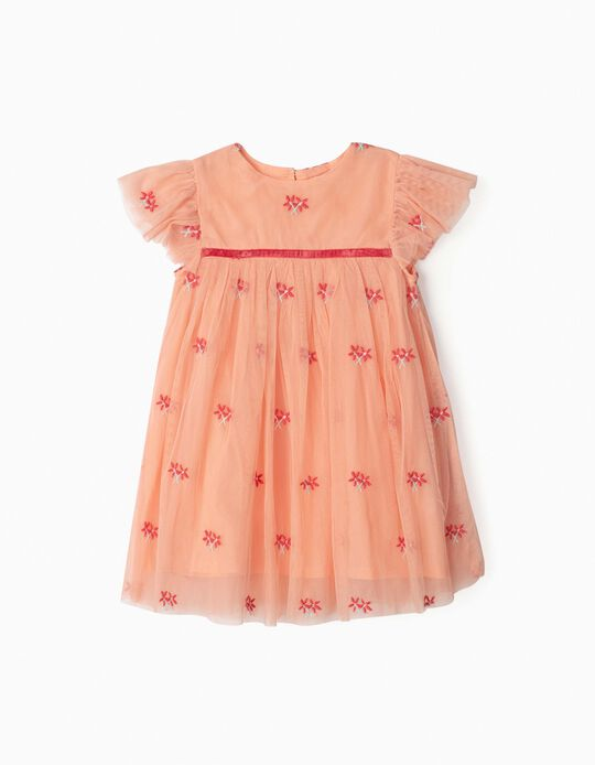 Tulle Dress for Baby Girls, 'Flowers', Pink