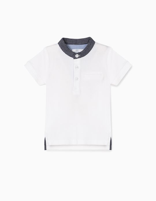 Polo Shirt with Mandarin Collar for Baby Boys, White