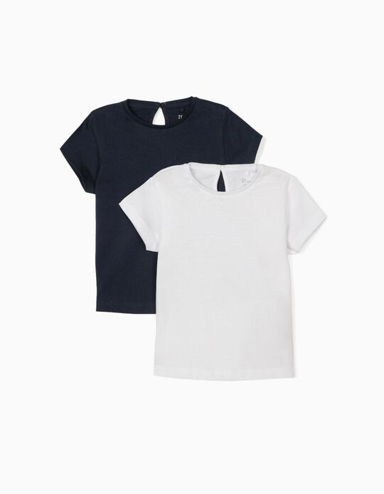 2 T-shirts for Baby Girls, Dark Blue/White