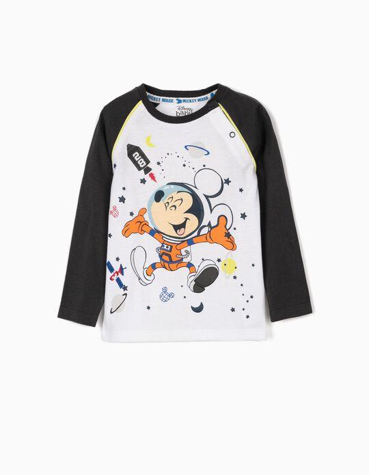 Camiseta Manga Larga para Bebé Niño 'Mickey', Blanco