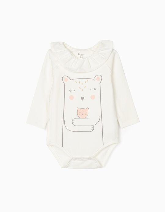 Blouse-Bodysuit for Newborn Baby Girls, White