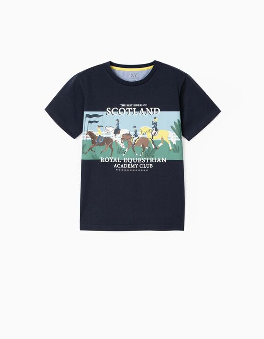 T-shirt for Boys, 'Scotland', Dark Blue