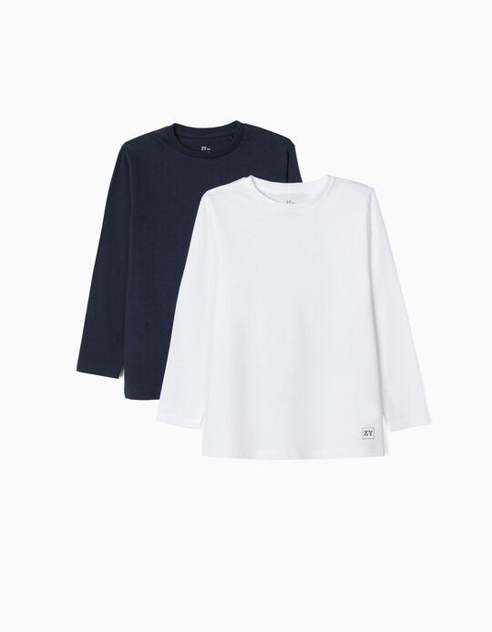 2 Camisetas de Manga Larga Lisas para Niño, Blanco/Azul Oscuro
