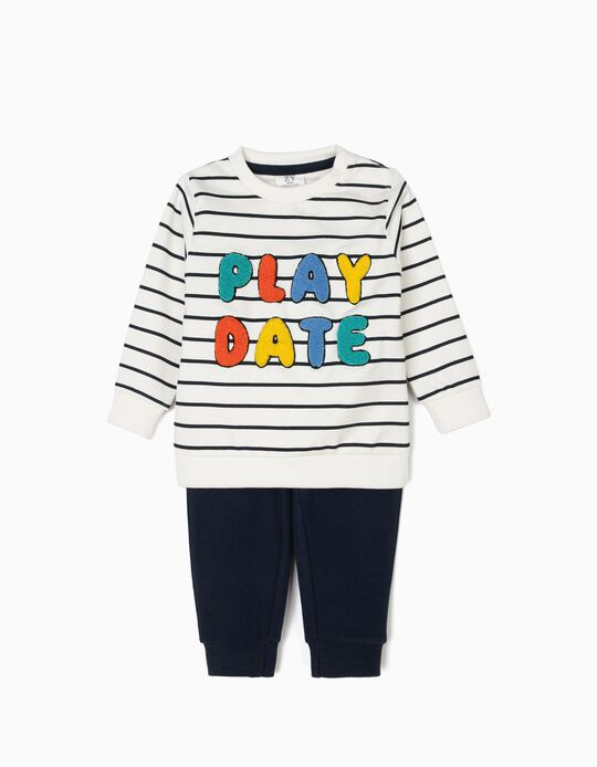 Fato de Treino para Bebé Menino 'Play Date', Branco e Azul