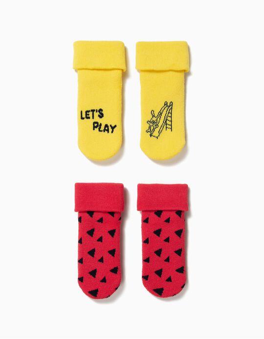 2 Pares de Meias Antiderrapantes para Bebé Menino, Amarelo e Vermelho