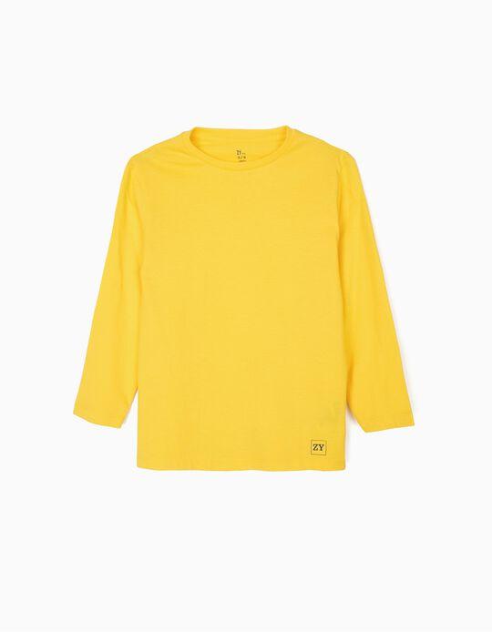 Camiseta de Manga Larga Básica para Niño, Amarilla