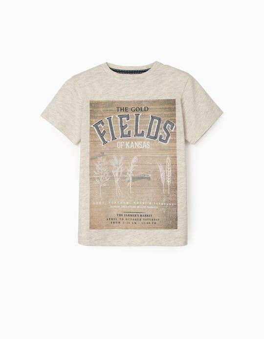 T-Shirt para Menino 'Fields', Bege