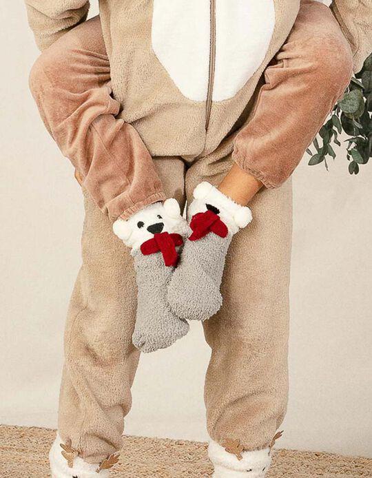 Calcetines Afelpados Infantiles 'Christmas Bear', Blanco/Gris