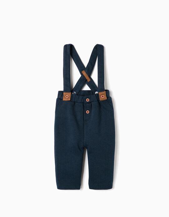 Pantalón con Tirantes para Recién Nacido 'Piqué', Azul Oscuro