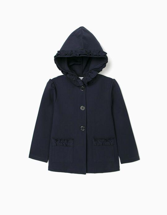 Hooded Jacket for Girls, Dark Blue