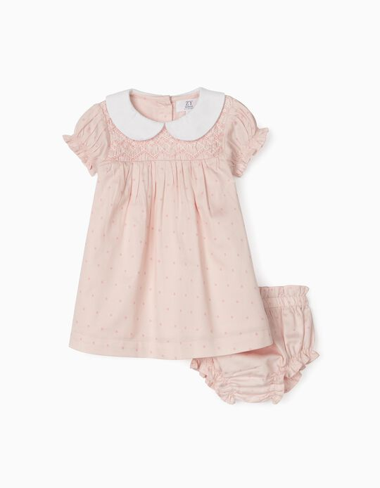 Dress with Bloomer Shorts for Newborn Baby Girls, Pink