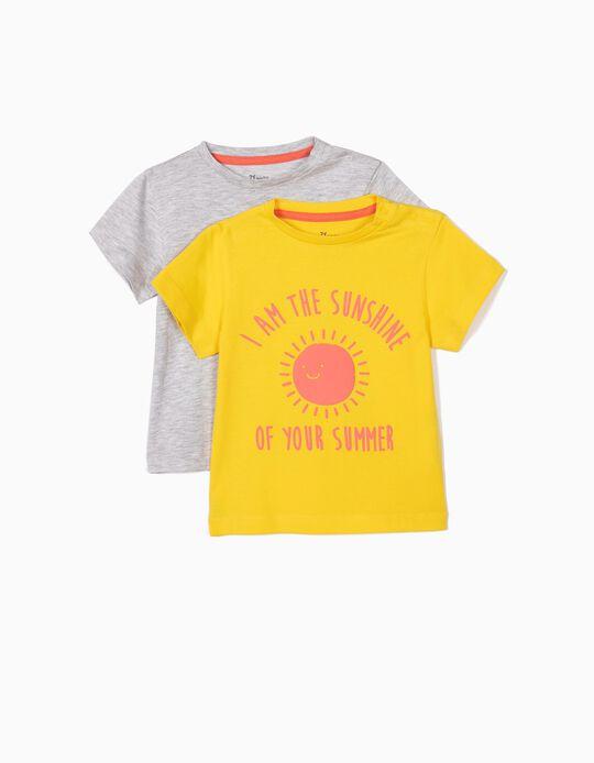 2 Camisetas para Bebé Niño 'Sunshine', Amarilla y Gris