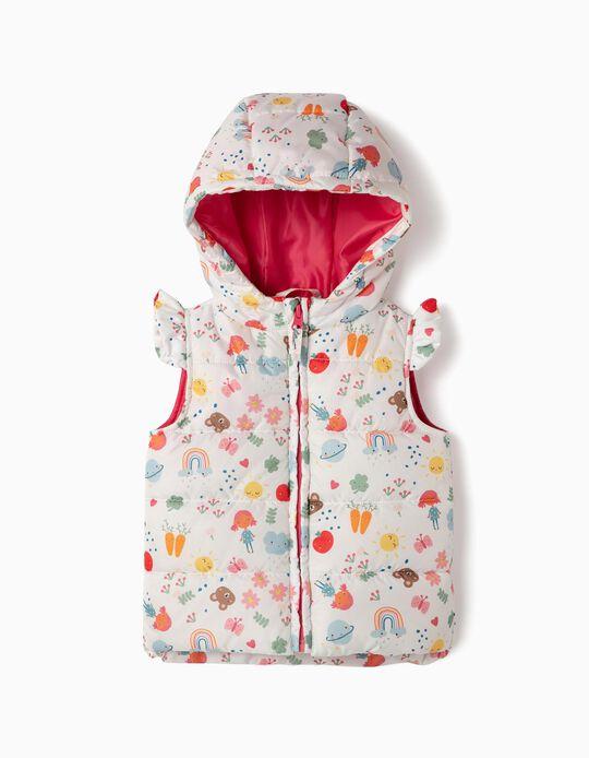 Colete Acolchoado para Bebé Menina Estampado, Branco