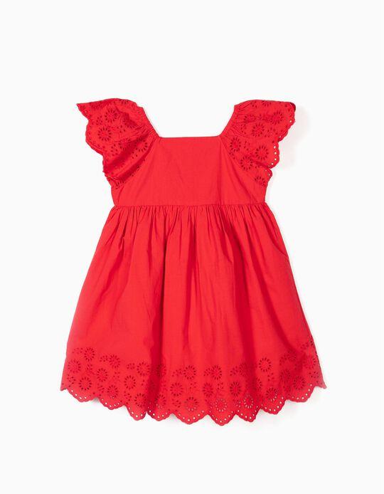 Vestido para Menina com Bordado Inglês, Vermelho